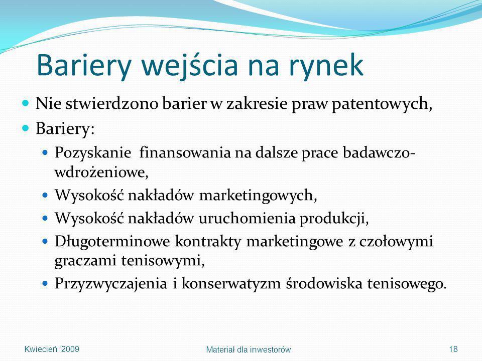 Bariery wejścia na rynek Nie stwierdzono barier w zakresie praw patentowych, Bariery: Pozyskanie finansowania na dalsze prace badawczo- wdrożeniowe, W