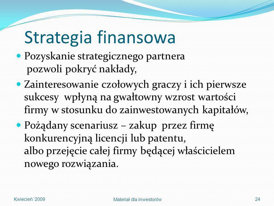 Strategia finansowa Pozyskanie strategicznego partnera pozwoli pokryć nakłady, Zainteresowanie czołowych graczy i ich pierwsze sukcesy wpłyną na gwałt