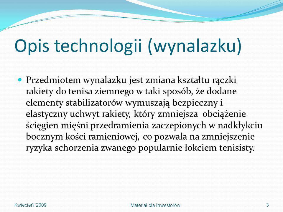 Opis technologii (wynalazku) Przedmiotem wynalazku jest zmiana kształtu rączki rakiety do tenisa ziemnego w taki sposób, że dodane elementy stabilizat