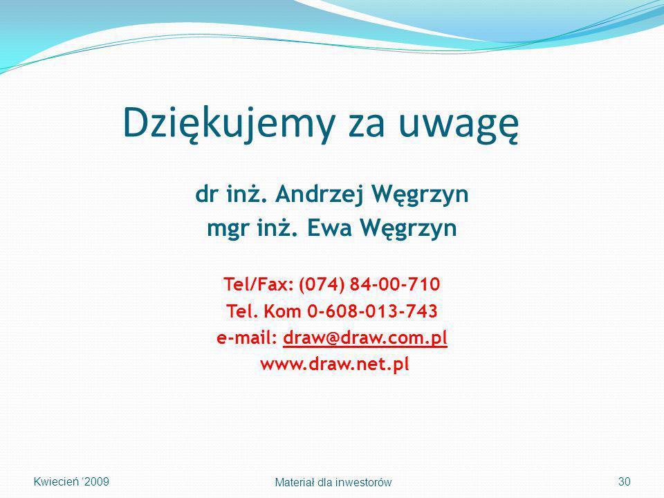 Dziękujemy za uwagę dr inż. Andrzej Węgrzyn mgr inż. Ewa Węgrzyn Tel/Fax: (074) 84-00-710 Tel. Kom 0-608-013-743 e-mail: draw@draw.com.pl www.draw.net