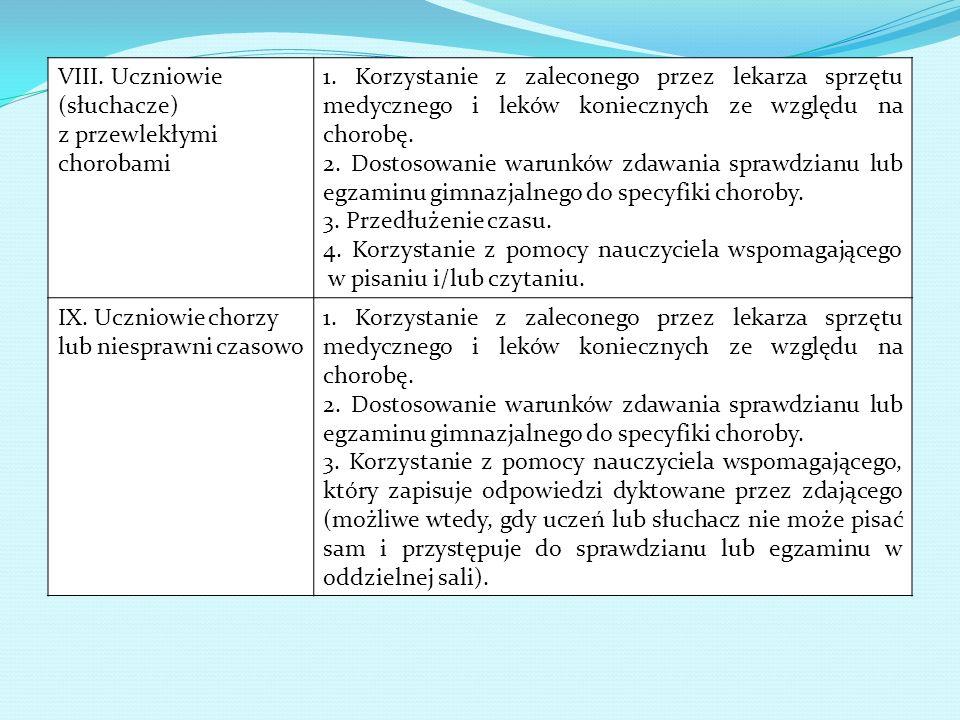 VIII. Uczniowie (słuchacze) z przewlekłymi chorobami 1. Korzystanie z zaleconego przez lekarza sprzętu medycznego i leków koniecznych ze względu na ch