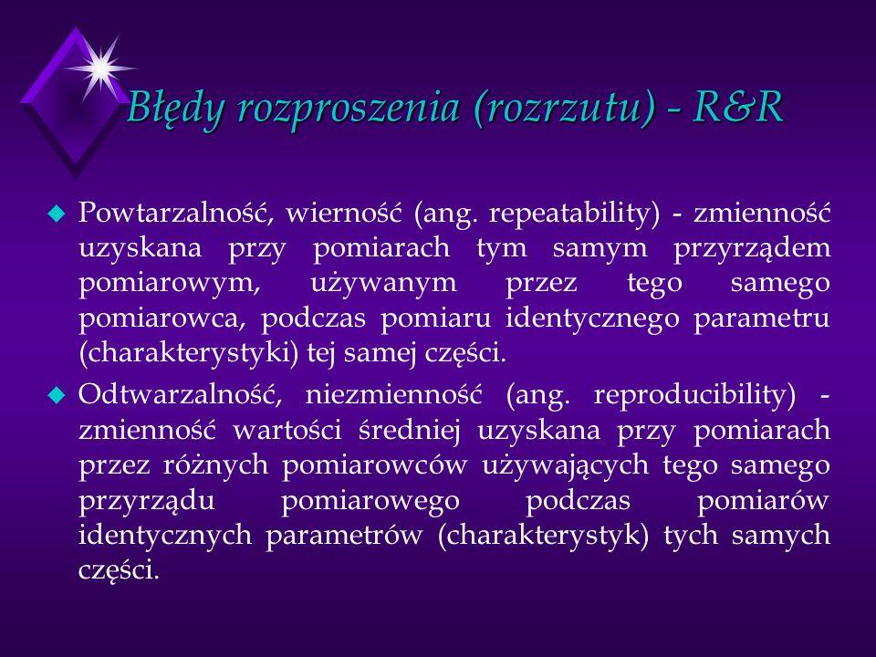 Błędy rozproszenia (rozrzutu) - R&R u Powtarzalność, wierność (ang. repeatability) - zmienność uzyskana przy pomiarach tym samym przyrządem pomiarowym