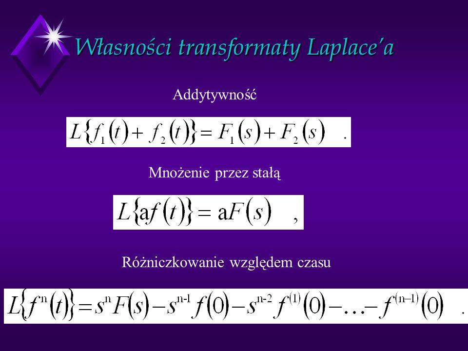 Własności transformaty Laplacea Addytywność Mnożenie przez stałą Różniczkowanie względem czasu