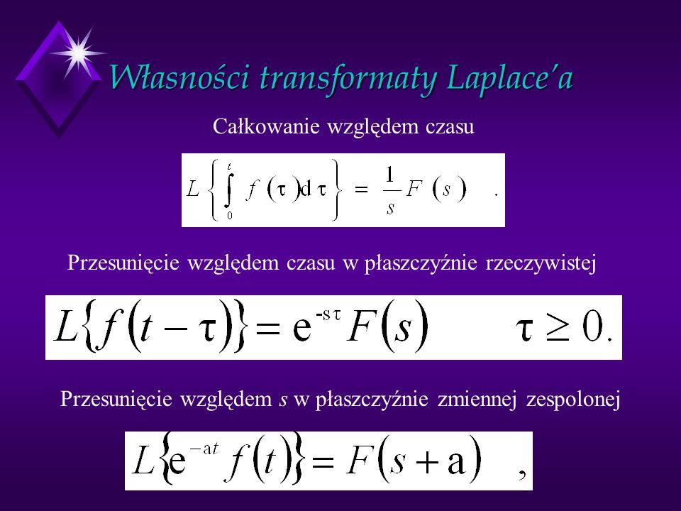 Własności transformaty Laplacea Całkowanie względem czasu Przesunięcie względem czasu w płaszczyźnie rzeczywistej Przesunięcie względem s w płaszczyźn