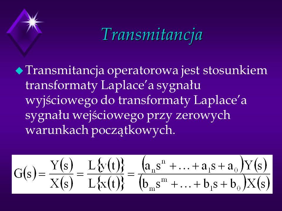Transmitancja u Transmitancja operatorowa jest stosunkiem transformaty Laplacea sygnału wyjściowego do transformaty Laplacea sygnału wejściowego przy