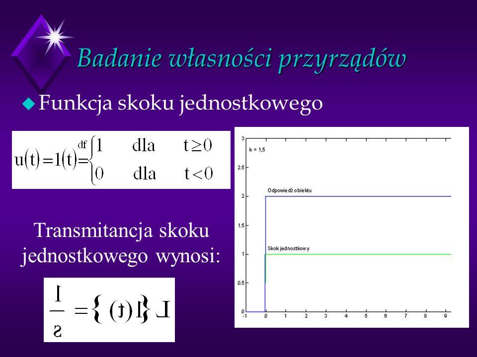 Badanie własności przyrządów u Funkcja skoku jednostkowego Transmitancja skoku jednostkowego wynosi: