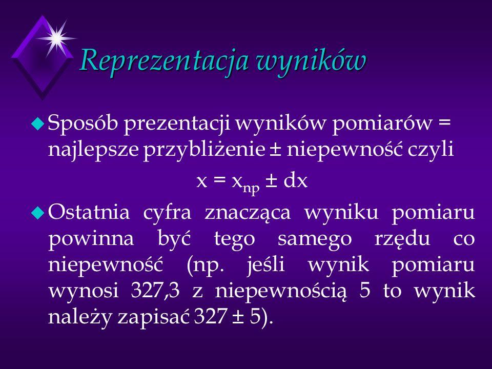 Reprezentacja wyników u Sposób prezentacji wyników pomiarów = najlepsze przybliżenie ± niepewność czyli x = x np ± dx u Ostatnia cyfra znacząca wyniku