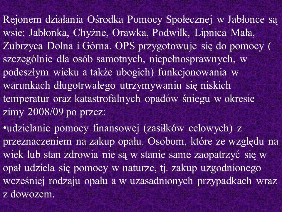 Rejonem działania Ośrodka Pomocy Społecznej w Jabłonce są wsie: Jabłonka, Chyżne, Orawka, Podwilk, Lipnica Mała, Zubrzyca Dolna i Górna.