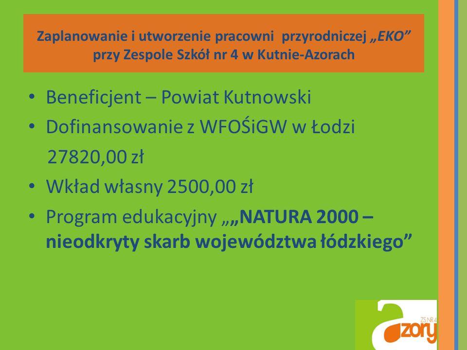 Zaplanowanie i utworzenie pracowni przyrodniczej EKO przy Zespole Szkół nr 4 w Kutnie-Azorach Beneficjent – Powiat Kutnowski Dofinansowanie z WFOŚiGW