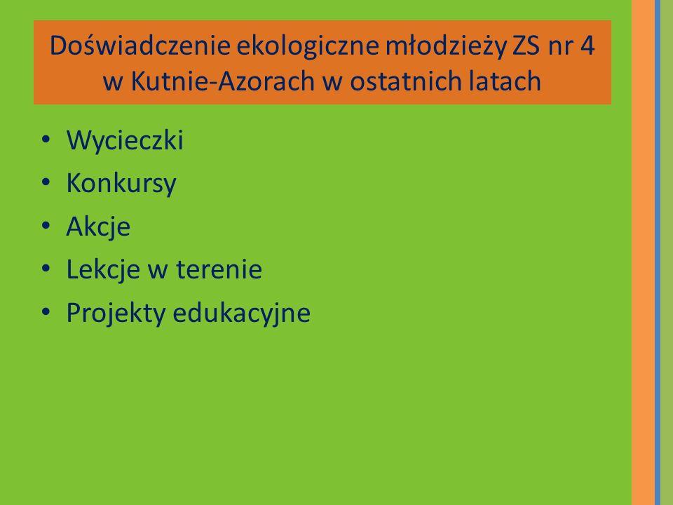 Doświadczenie ekologiczne młodzieży ZS nr 4 w Kutnie-Azorach w ostatnich latach Wycieczki Konkursy Akcje Lekcje w terenie Projekty edukacyjne