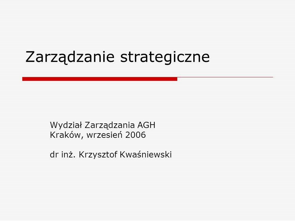 treść wykładu Wstęp Część A - Szkice wprowadzające Część B - Identyfikacja misji i celów przedsiębiorstwa Część C - Analiza strategiczna Część D - Alternatywy strategiczne Część E - Ocena i wybór strategii Część F - Realizacja strategii Część G - Case study