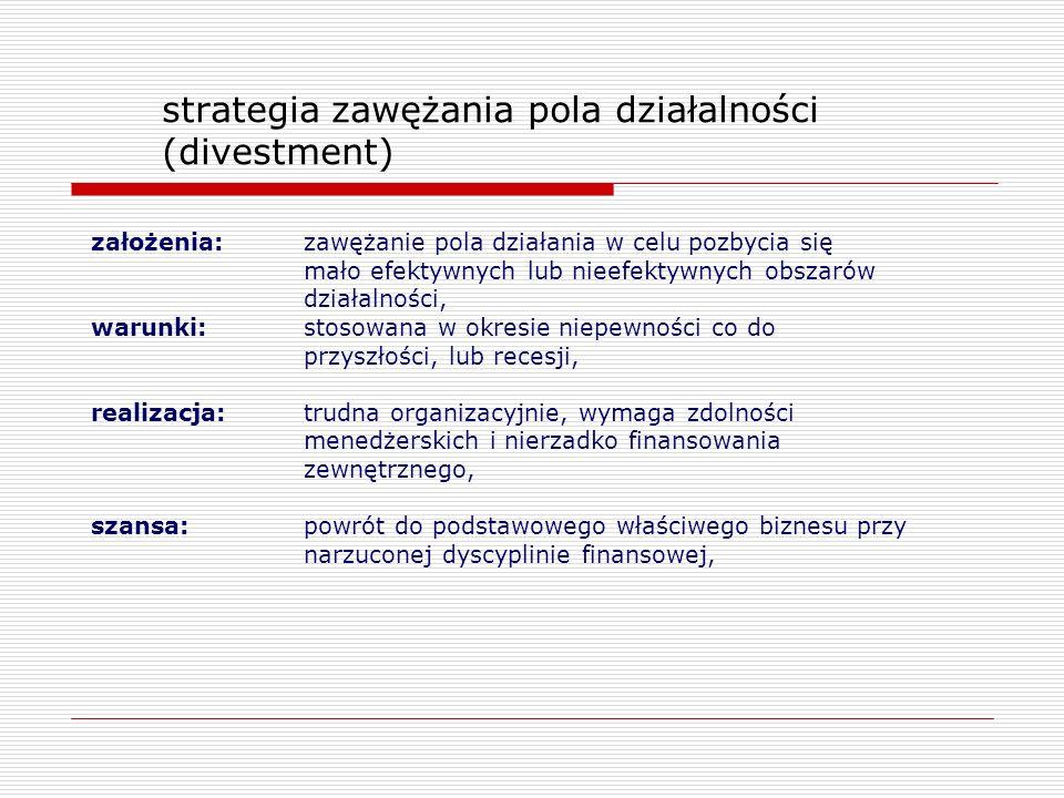 strategia zawężania pola działalności (divestment) założenia: zawężanie pola działania w celu pozbycia się mało efektywnych lub nieefektywnych obszaró