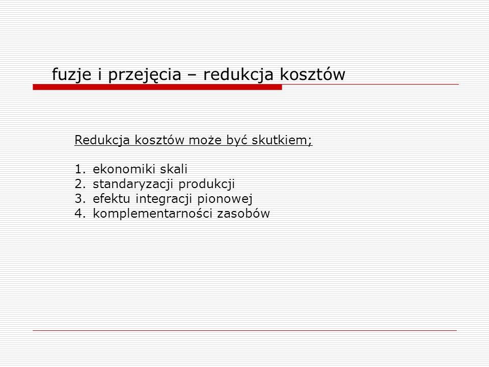 fuzje i przejęcia – redukcja kosztów Redukcja kosztów może być skutkiem; 1.ekonomiki skali 2.standaryzacji produkcji 3.efektu integracji pionowej 4.ko