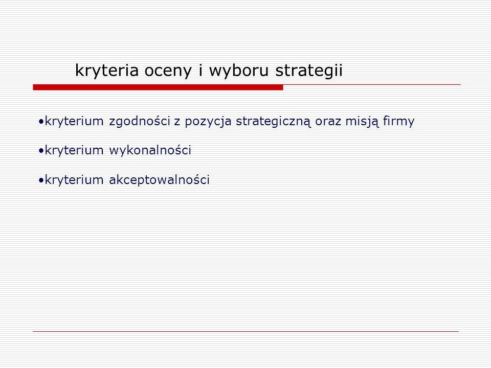 kryteria oceny i wyboru strategii kryterium zgodności z pozycja strategiczną oraz misją firmy kryterium wykonalności kryterium akceptowalności