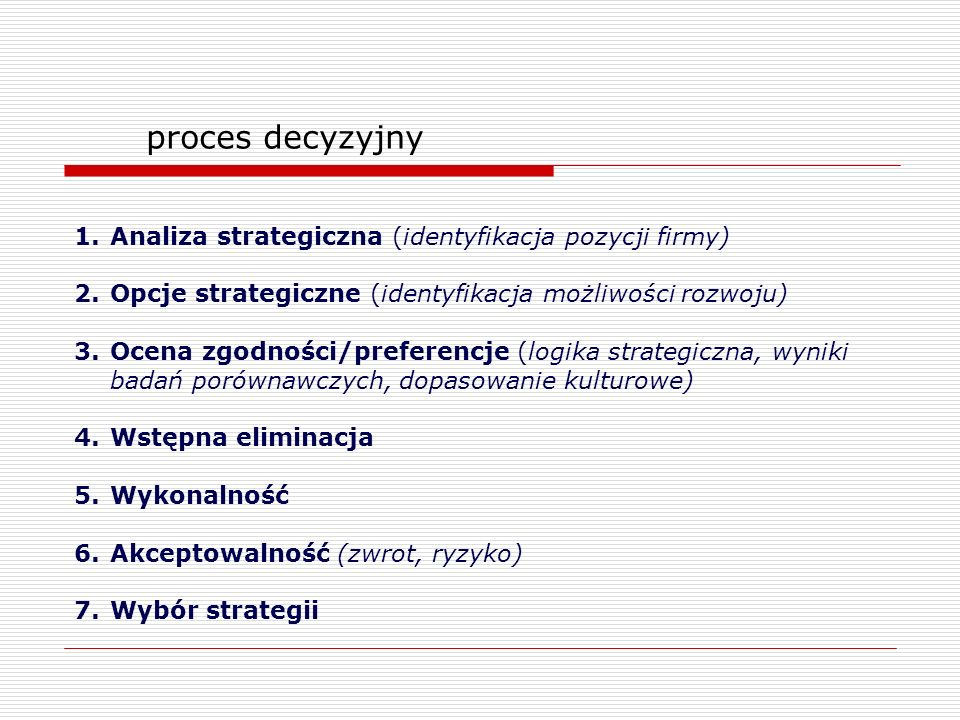 proces decyzyjny 1.Analiza strategiczna (identyfikacja pozycji firmy) 2.Opcje strategiczne (identyfikacja możliwości rozwoju) 3.Ocena zgodności/prefer