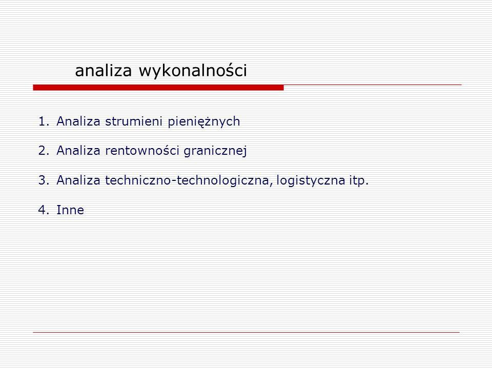 analiza wykonalności 1.Analiza strumieni pieniężnych 2.Analiza rentowności granicznej 3.Analiza techniczno-technologiczna, logistyczna itp. 4.Inne