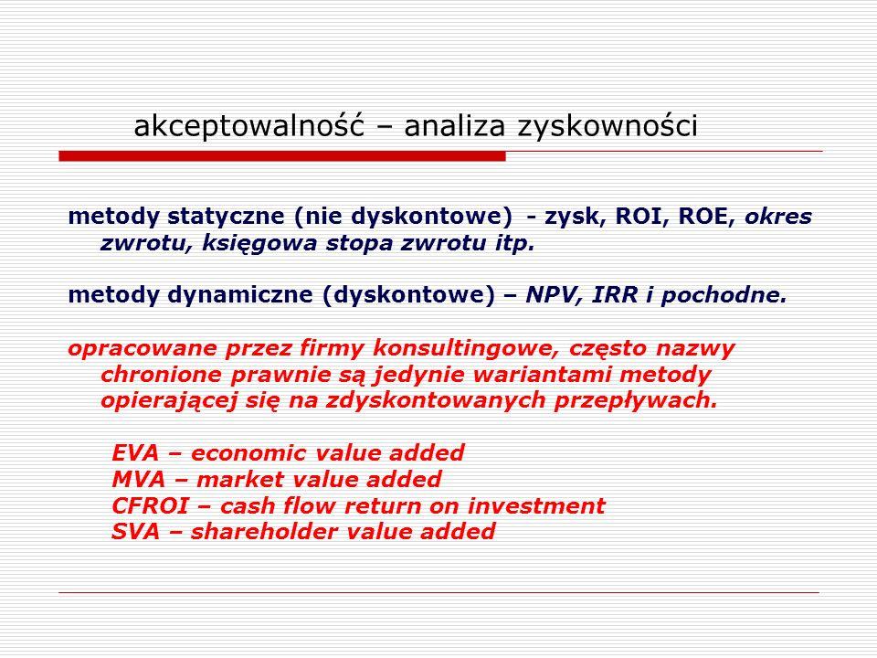 akceptowalność – analiza zyskowności metody statyczne (nie dyskontowe) - zysk, ROI, ROE, okres zwrotu, księgowa stopa zwrotu itp. metody dynamiczne (d