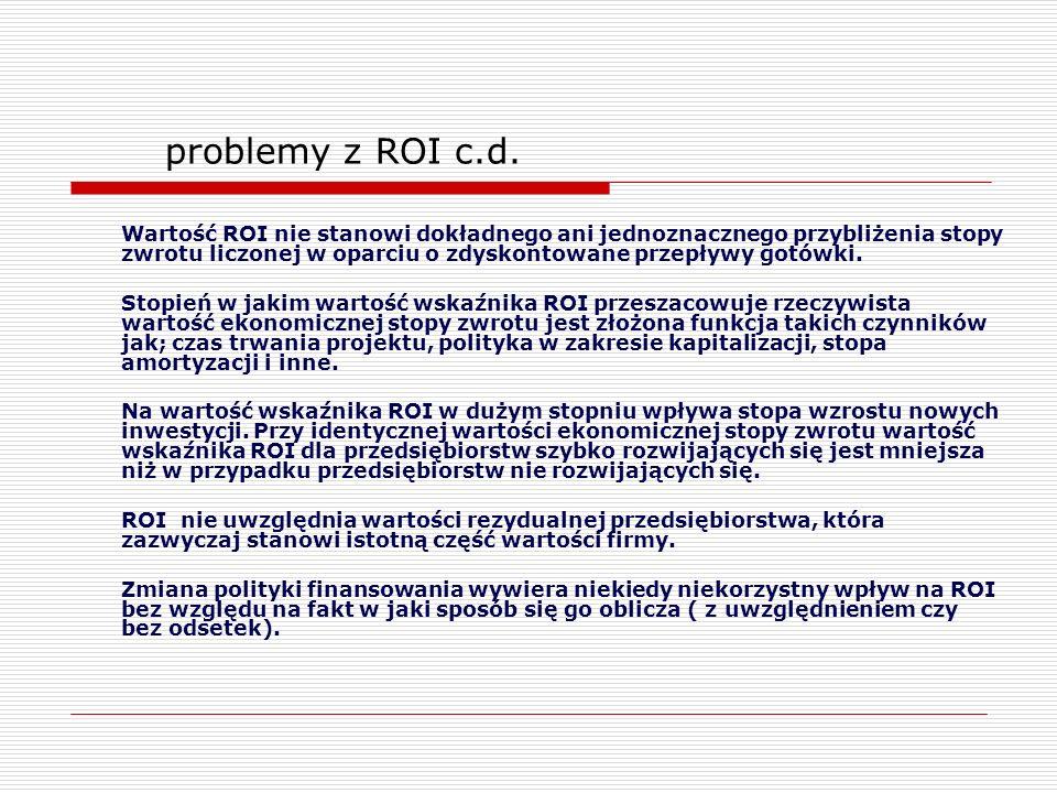 Wartość ROI nie stanowi dokładnego ani jednoznacznego przybliżenia stopy zwrotu liczonej w oparciu o zdyskontowane przepływy gotówki. Stopień w jakim