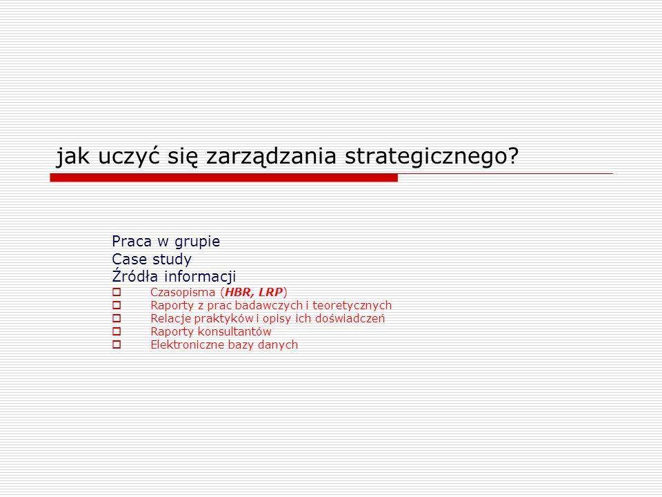 jak uczyć się zarządzania strategicznego? Praca w grupie Case study Źródła informacji Czasopisma (HBR, LRP) Raporty z prac badawczych i teoretycznych