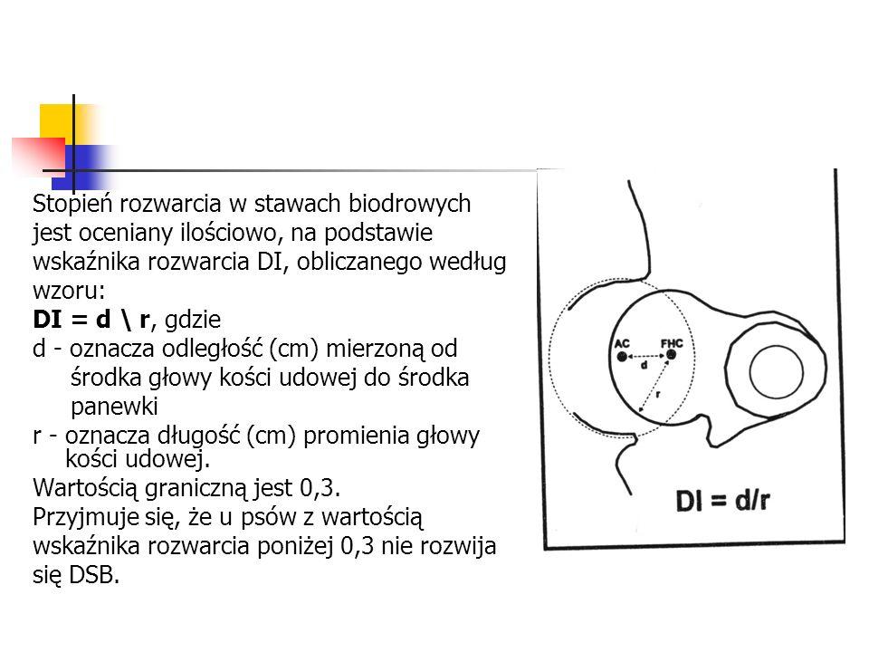 Stopień rozwarcia w stawach biodrowych jest oceniany ilościowo, na podstawie wskaźnika rozwarcia DI, obliczanego według wzoru: DI = d \ r, gdzie d - o