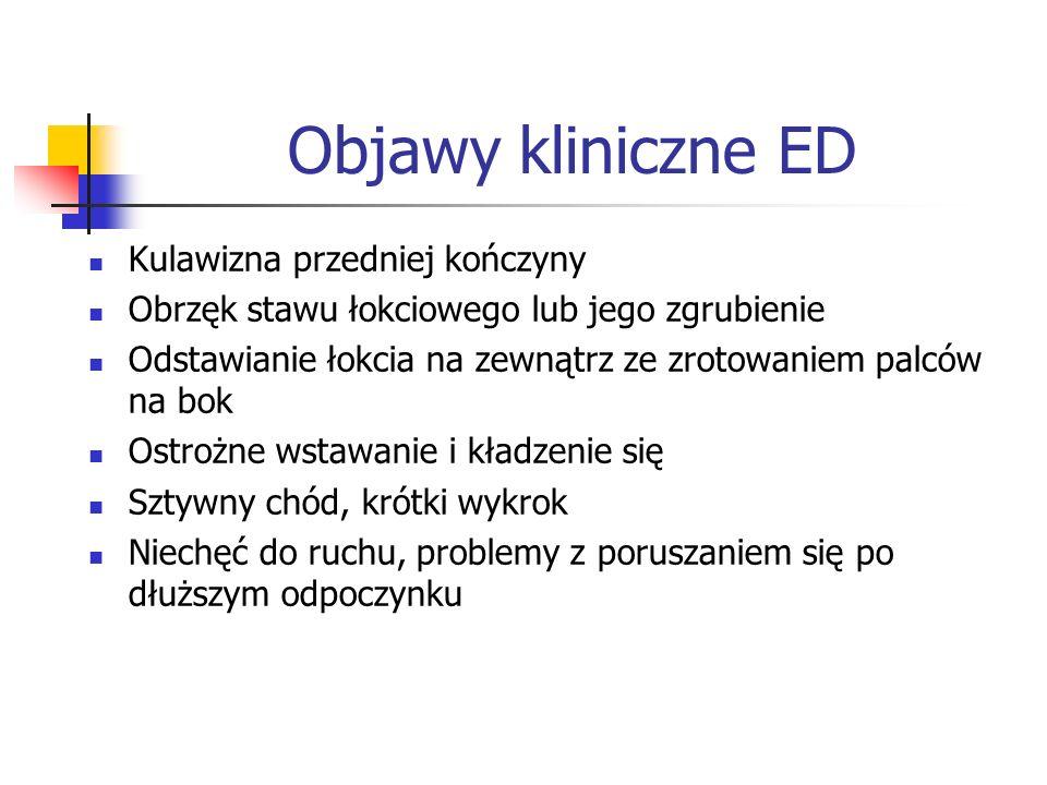 Objawy kliniczne ED Kulawizna przedniej kończyny Obrzęk stawu łokciowego lub jego zgrubienie Odstawianie łokcia na zewnątrz ze zrotowaniem palców na b