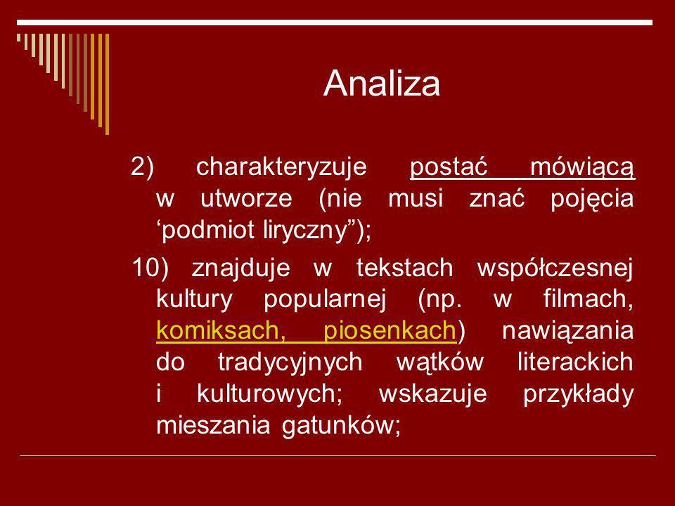 Analiza 2) charakteryzuje postać mówiącą w utworze (nie musi znać pojęcia podmiot liryczny); 10) znajduje w tekstach współczesnej kultury popularnej (