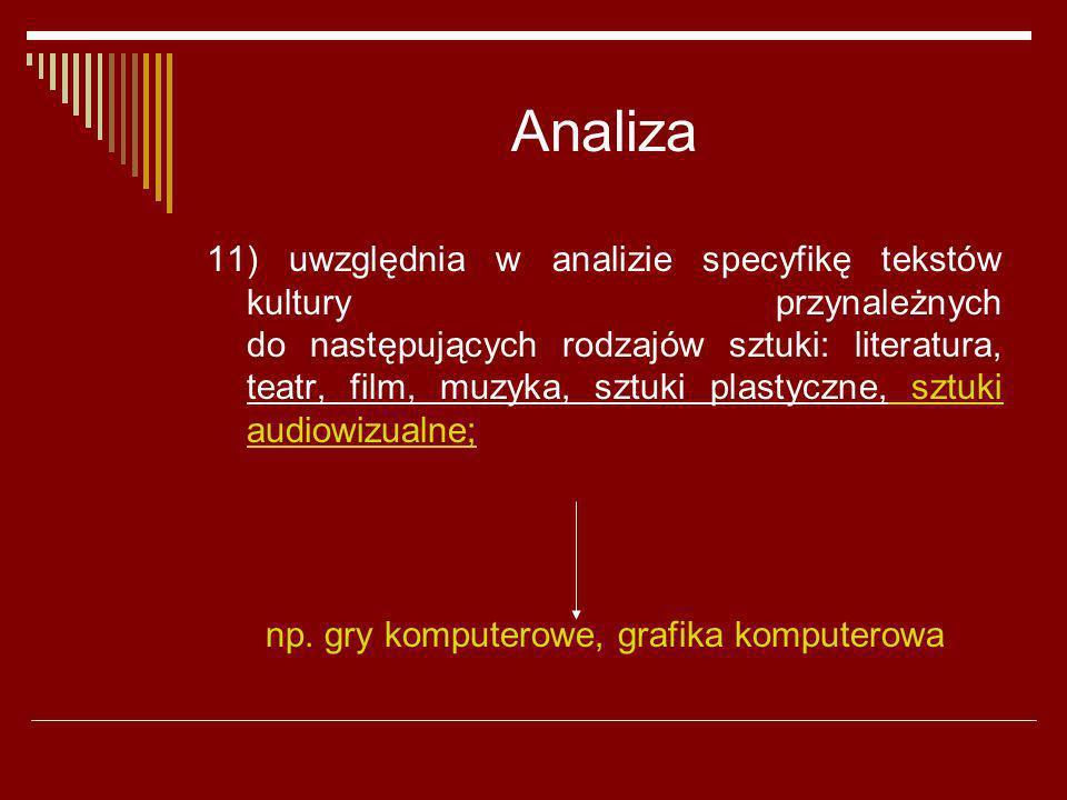 Analiza 11) uwzględnia w analizie specyfikę tekstów kultury przynależnych do następujących rodzajów sztuki: literatura, teatr, film, muzyka, sztuki pl