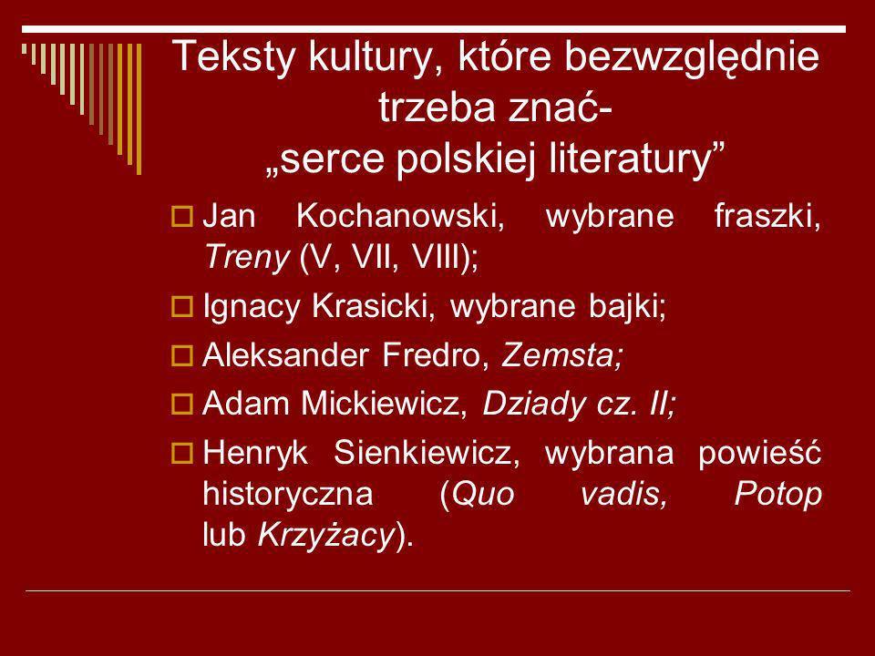 Teksty kultury, które bezwzględnie trzeba znać- serce polskiej literatury Jan Kochanowski, wybrane fraszki, Treny (V, VII, VIII); Ignacy Krasicki, wyb