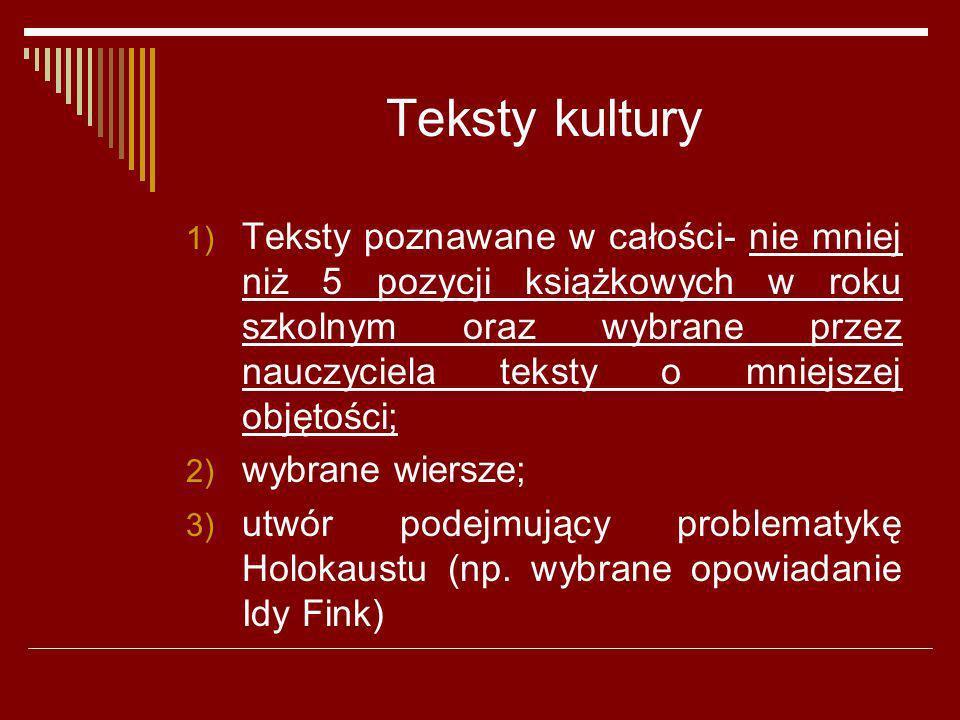 Teksty kultury 1) Teksty poznawane w całości- nie mniej niż 5 pozycji książkowych w roku szkolnym oraz wybrane przez nauczyciela teksty o mniejszej ob