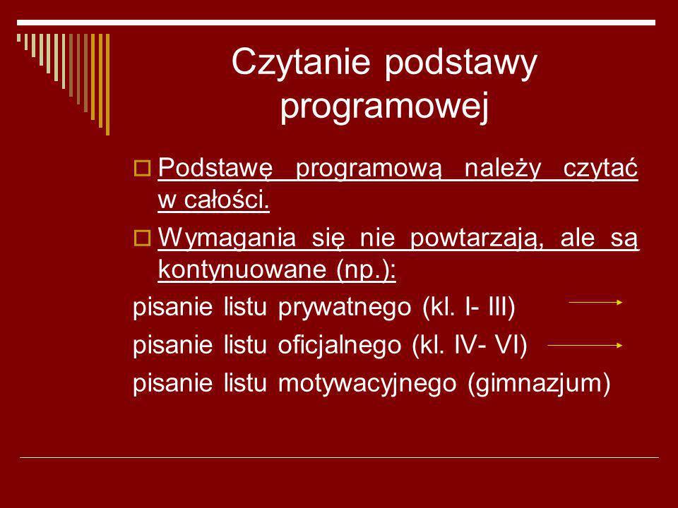 Czytanie podstawy programowej Podstawę programową należy czytać w całości. Wymagania się nie powtarzają, ale są kontynuowane (np.): pisanie listu pryw