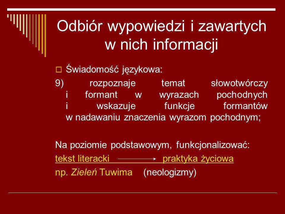 Odbiór wypowiedzi i zawartych w nich informacji Świadomość językowa: 9) rozpoznaje temat słowotwórczy i formant w wyrazach pochodnych i wskazuje funkc