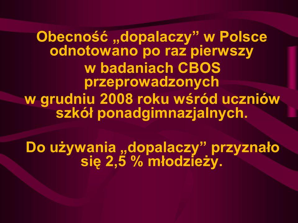 Obecność dopalaczy w Polsce odnotowano po raz pierwszy w badaniach CBOS przeprowadzonych w grudniu 2008 roku wśród uczniów szkół ponadgimnazjalnych. D
