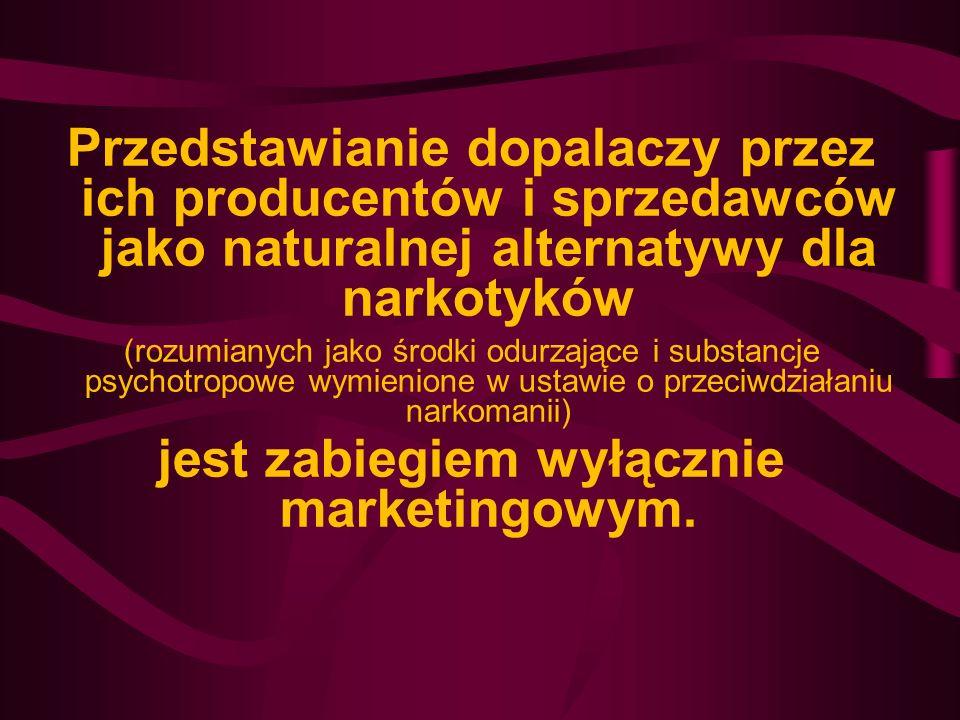 Przedstawianie dopalaczy przez ich producentów i sprzedawców jako naturalnej alternatywy dla narkotyków (rozumianych jako środki odurzające i substanc
