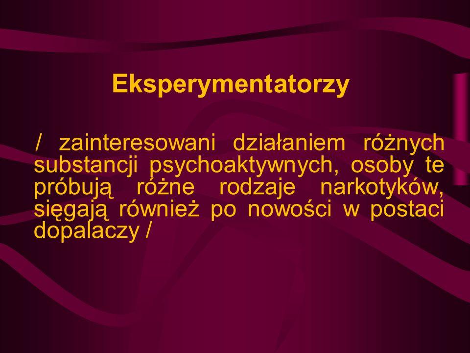 Eksperymentatorzy / zainteresowani działaniem różnych substancji psychoaktywnych, osoby te próbują różne rodzaje narkotyków, sięgają również po nowośc