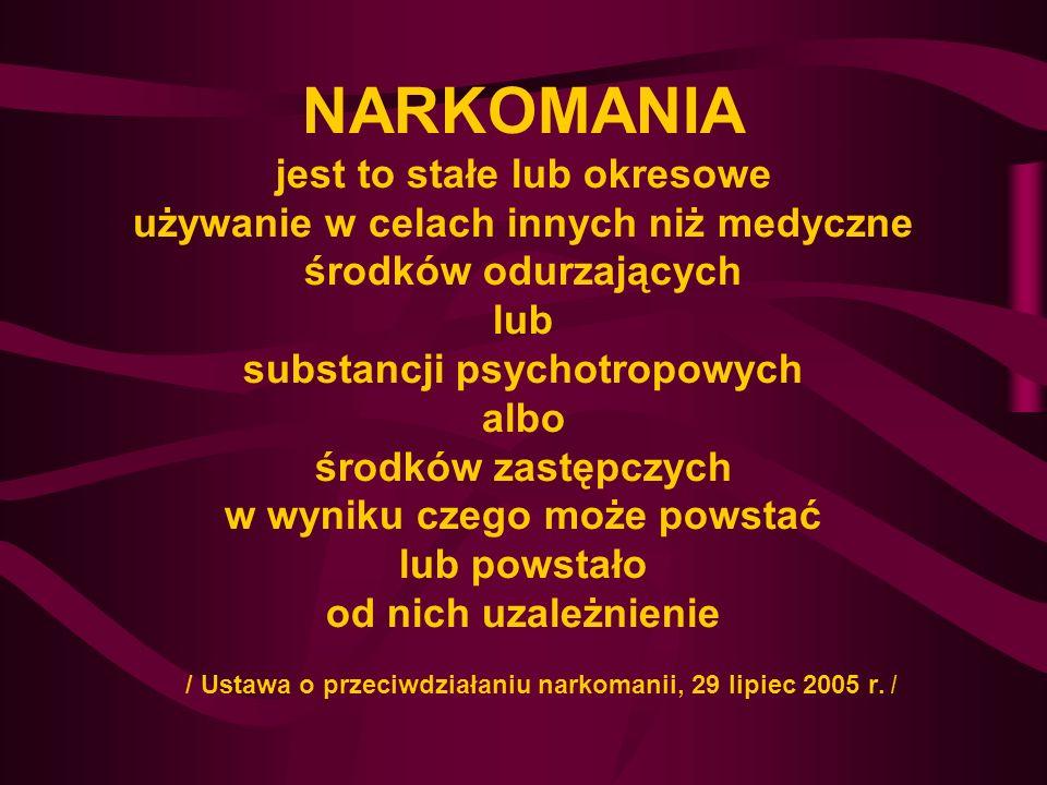 NARKOMANIA jest to stałe lub okresowe używanie w celach innych niż medyczne środków odurzających lub substancji psychotropowych albo środków zastępczy