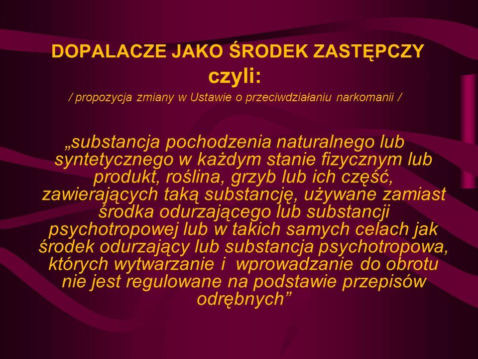 DOPALACZE JAKO ŚRODEK ZASTĘPCZY czyli: / propozycja zmiany w Ustawie o przeciwdziałaniu narkomanii / substancja pochodzenia naturalnego lub syntetyczn