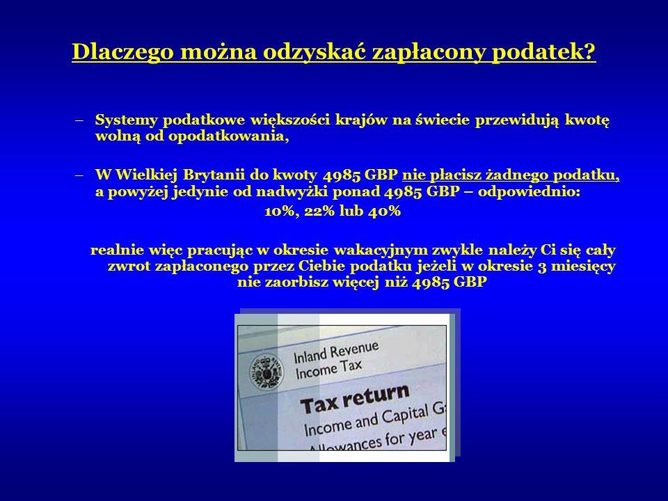 Dlaczego można odzyskać zapłacony podatek? –Systemy podatkowe większości krajów na świecie przewidują kwotę wolną od opodatkowania, –W Wielkiej Brytan