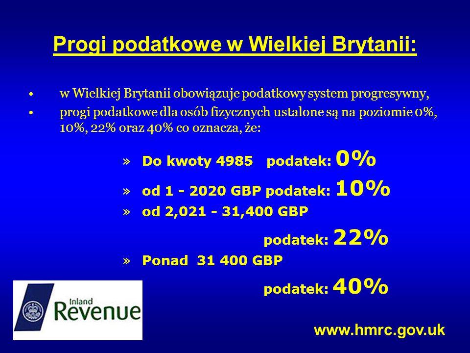 Progi podatkowe w Wielkiej Brytanii: w Wielkiej Brytanii obowiązuje podatkowy system progresywny, progi podatkowe dla osób fizycznych ustalone są na p