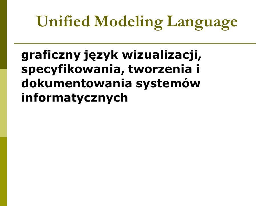 Unified Modeling Language graficzny język wizualizacji, specyfikowania, tworzenia i dokumentowania systemów informatycznych