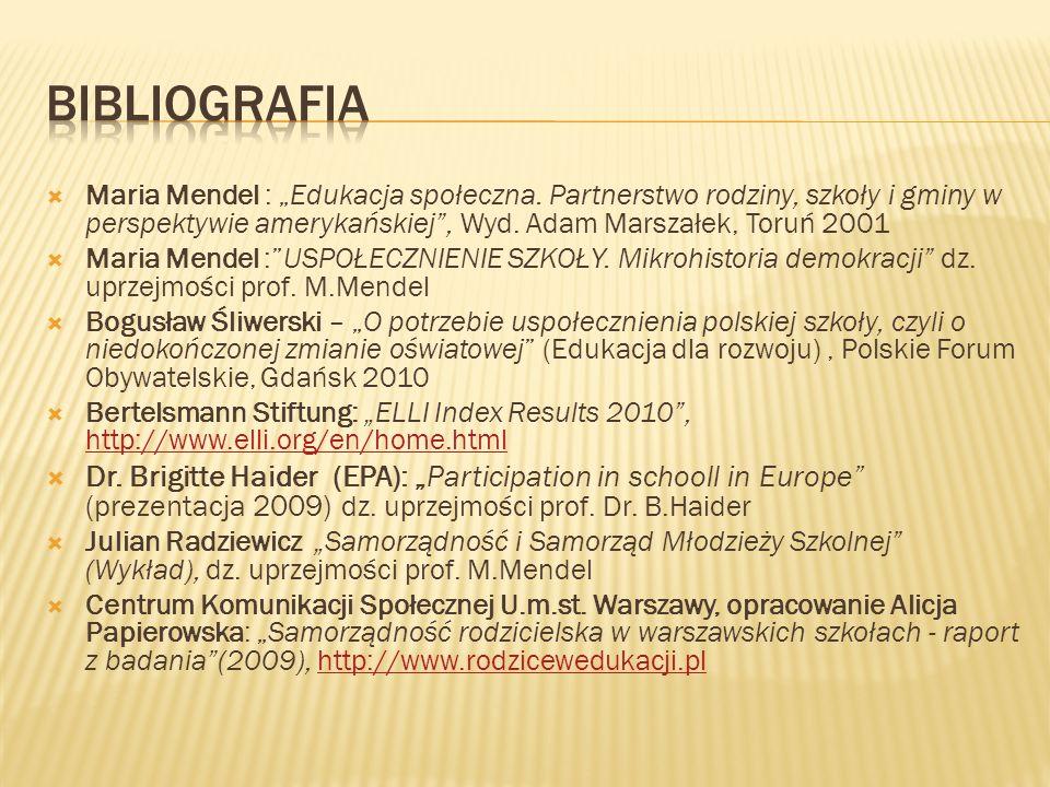 Maria Mendel : Edukacja społeczna. Partnerstwo rodziny, szkoły i gminy w perspektywie amerykańskiej, Wyd. Adam Marszałek, Toruń 2001 Maria Mendel :USP