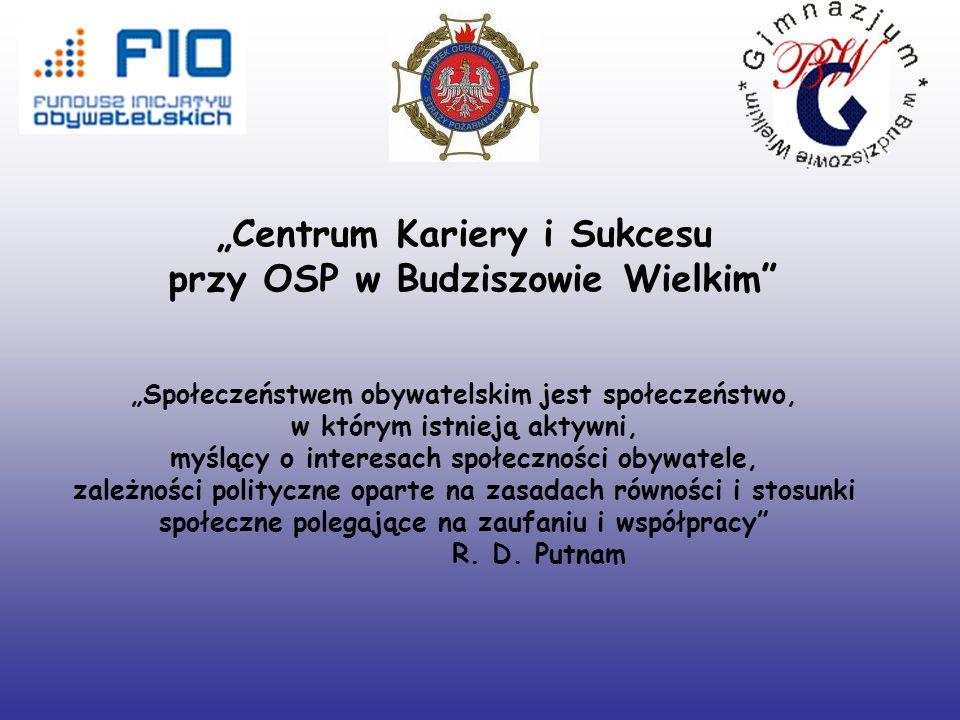 Centrum Kariery i Sukcesu przy OSP w Budziszowie Wielkim Społeczeństwem obywatelskim jest społeczeństwo, w którym istnieją aktywni, myślący o interesach społeczności obywatele, zależności polityczne oparte na zasadach równości i stosunki społeczne polegające na zaufaniu i współpracy R.