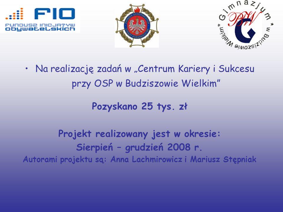 Na realizację zadań w Centrum Kariery i Sukcesu przy OSP w Budziszowie Wielkim Pozyskano 25 tys.