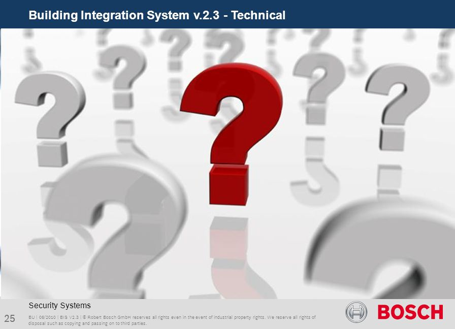 Building Integration System v.2.3 - Technical 25 BU | 06/2010 | BIS V2.3 | © Robert Bosch GmbH reserves all rights even in the event of industrial pro