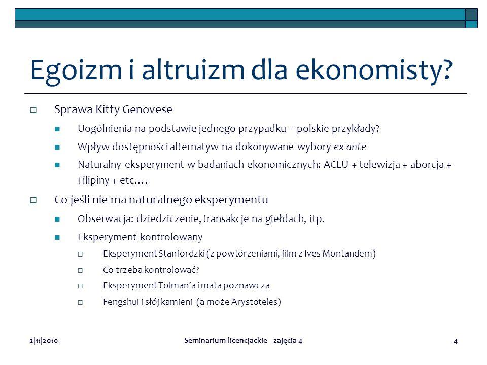 2|11|2010Seminarium licencjackie - zajęcia 44 Egoizm i altruizm dla ekonomisty? Sprawa Kitty Genovese Uogólnienia na podstawie jednego przypadku – pol