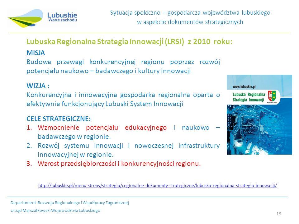 13 Sytuacja społeczno – gospodarcza województwa lubuskiego w aspekcie dokumentów strategicznych MISJA Budowa przewagi konkurencyjnej regionu poprzez rozwój potencjału naukowo – badawczego i kultury innowacji WIZJA : Konkurencyjna i innowacyjna gospodarka regionalna oparta o efektywnie funkcjonujący Lubuski System Innowacji CELE STRATEGICZNE: 1.Wzmocnienie potencjału edukacyjnego i naukowo – badawczego w regionie.
