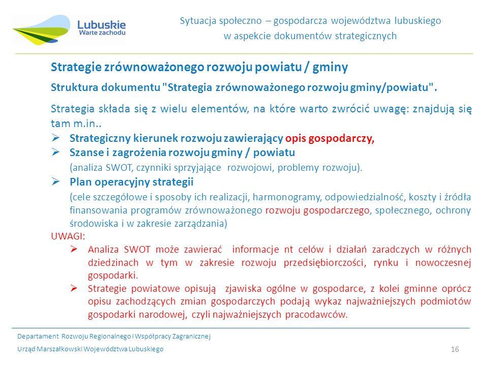 16 Sytuacja społeczno – gospodarcza województwa lubuskiego w aspekcie dokumentów strategicznych Strategie zrównoważonego rozwoju powiatu / gminy Struktura dokumentu Strategia zrównoważonego rozwoju gminy/powiatu .