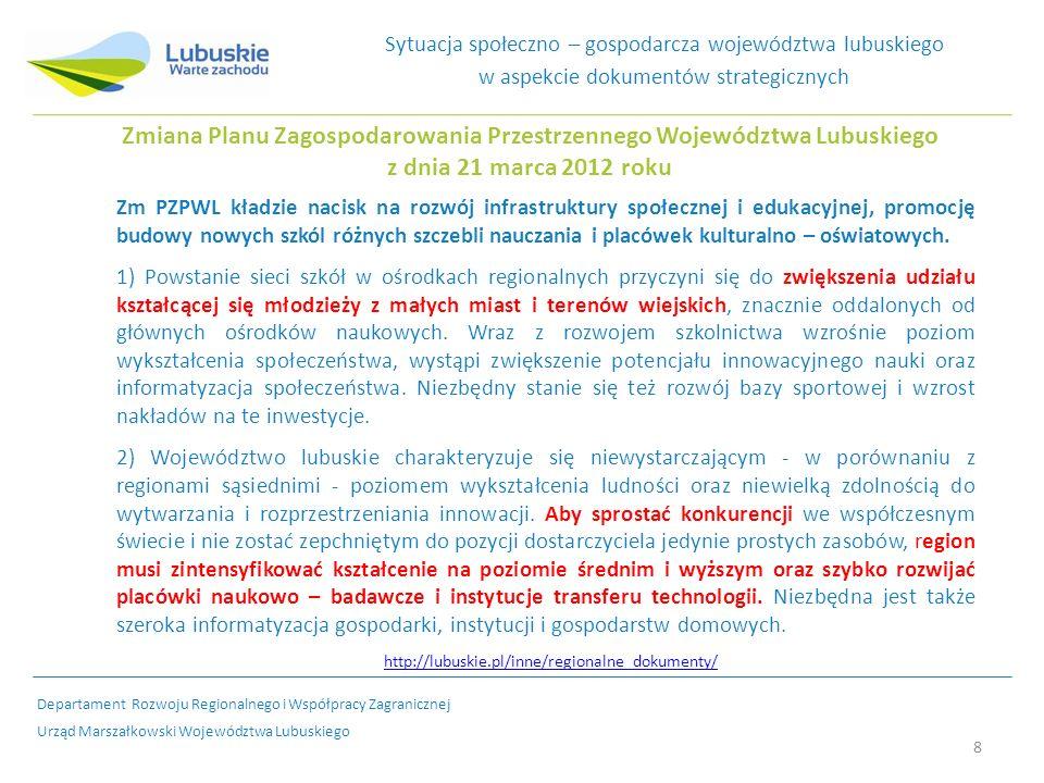 8 Zmiana Planu Zagospodarowania Przestrzennego Województwa Lubuskiego z dnia 21 marca 2012 roku Zm PZPWL kładzie nacisk na rozwój infrastruktury społecznej i edukacyjnej, promocję budowy nowych szkól różnych szczebli nauczania i placówek kulturalno – oświatowych.