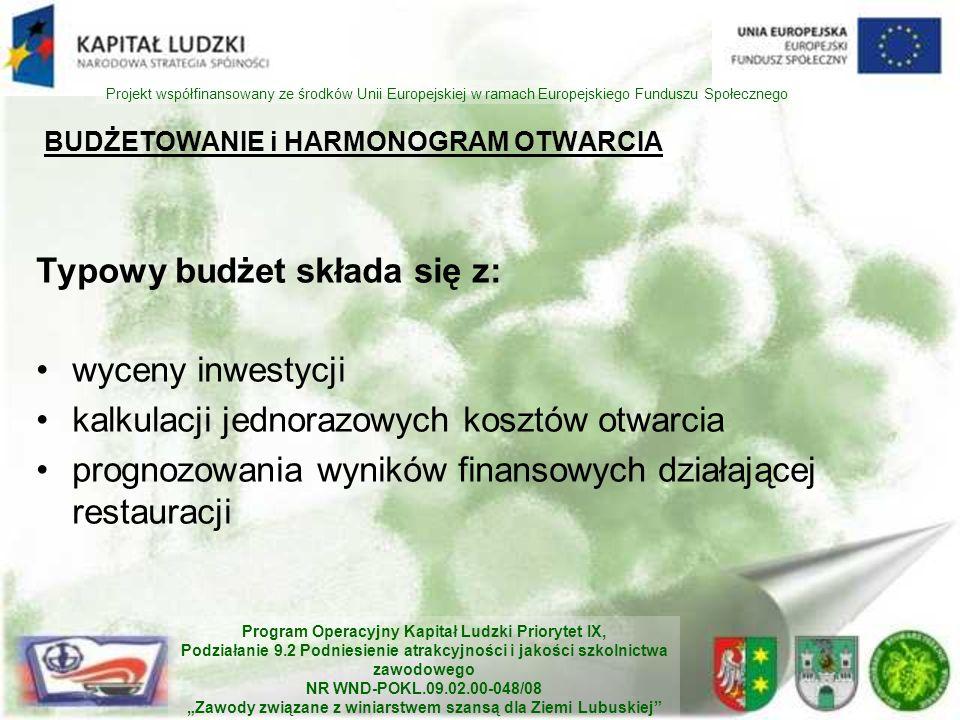 Program Operacyjny Kapitał Ludzki Priorytet IX, Podziałanie 9.2 Podniesienie atrakcyjności i jakości szkolnictwa zawodowego NR WND-POKL.09.02.00-048/08 Zawody związane z winiarstwem szansą dla Ziemi Lubuskiej Projekt współfinansowany ze środków Unii Europejskiej w ramach Europejskiego Funduszu Społecznego BUDŻETOWANIE i HARMONOGRAM OTWARCIA Typowy budżet składa się z: wyceny inwestycji kalkulacji jednorazowych kosztów otwarcia prognozowania wyników finansowych działającej restauracji
