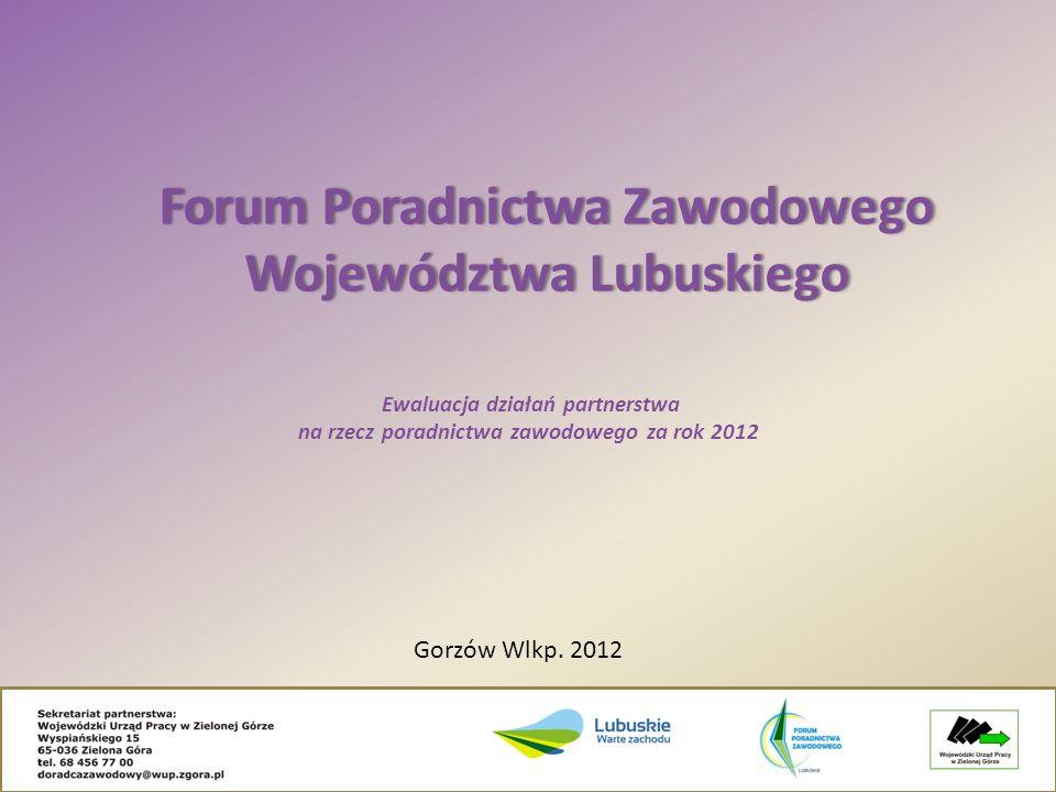 Ewaluacja działań partnerstwa na rzecz poradnictwa zawodowego za rok 2012 Forum Poradnictwa Zawodowego Województwa Lubuskiego Gorzów Wlkp. 2012