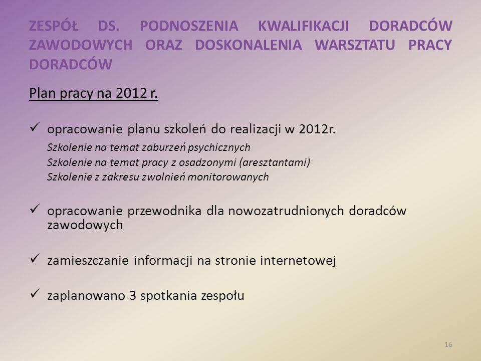 ZESPÓŁ DS. PODNOSZENIA KWALIFIKACJI DORADCÓW ZAWODOWYCH ORAZ DOSKONALENIA WARSZTATU PRACY DORADCÓW Plan pracy na 2012 r. opracowanie planu szkoleń do